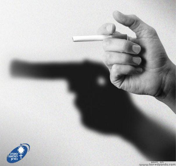 iklan kreatif anti rokok yang dapat membuat anda berhenti merokok pistol 40 iklan kreatif Anti Rokok yang dapat membuat anda berhenti merokok